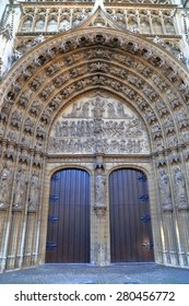 Gothic details of the main door to the Cathedral of Our Lady in Antwerp, Belgium
