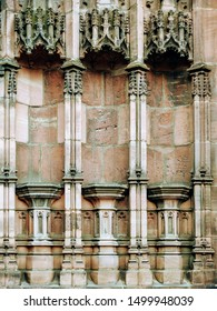 Gothic empty statue column supports on the exterior of a medieval church wall. Architectural detail at Chester Cathedral in the city of Chester, Cheshire, England