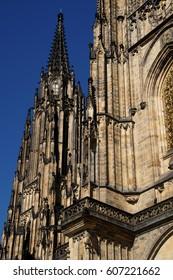 Gothic exterior of   St Vitus Cathedral,  Prague, Czech Republic