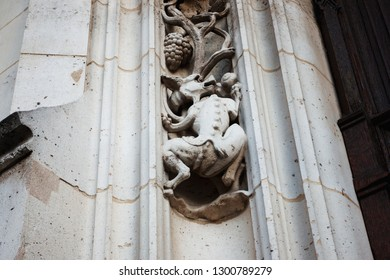 Gothic figure, a fragment of a sculptural composition on a Gothic church