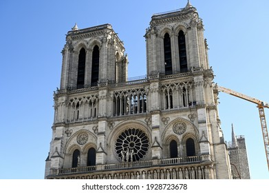 The gothic french cathedral in the center of Paris