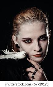gothic geisha girl with bird