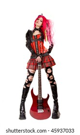Gothic girl with electro guitar, isolated on white background
