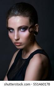 Gothic girl. Halloween Makeup. Luxury beautiful woman with gothic makeup. Beauty stylish girl