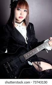 Gothic girl and her guitar