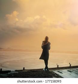 Gothic girl and sunset Photo