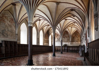 Gothic hall of the castle in Malbork.World Heritage List UNESCO.