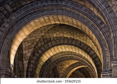 gothic medieval church stone arches detail