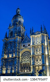 Gothic Notre Dame cathedral in the center of Evreux, Normandy, France at twilight