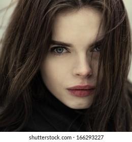Gothic portrait of a beautiful girl closeup