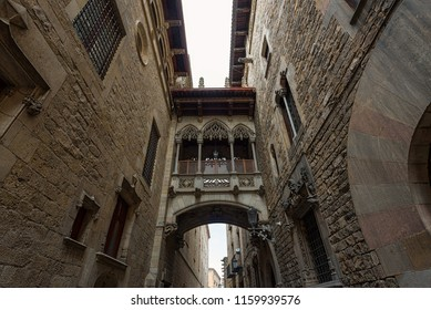 Gothic Quarter in Barcelona. Neogothic bridge at Carrer del Bisbe Bishop Street, Barcelona, Catalonia, Spain. Architectural details
