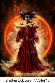 Gothic queen in red dress doing magic. Design for cover