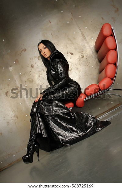 f9270efbe7 Gothic Rock Black Mermaid PVC Vinyl Long Dress with Latex Rubber Corset and  Jacket With Big