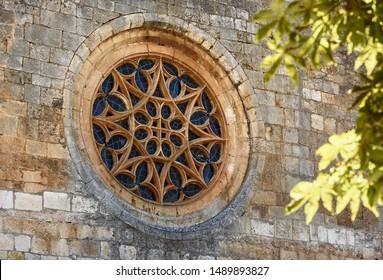 gothic rose window of Covarrubias collegiate,Spain