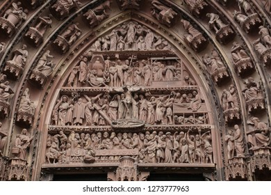 Gothic sculptures on the exterior portal of the Cathedral in Strasbourg, France
