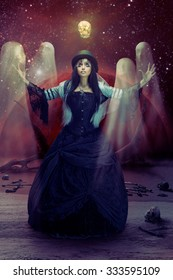 Gothic sorceress casting some spells
