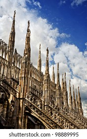 Gothic spires on roof of Milan's Duomo (cathedral), Milan, Italy.