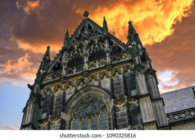 Gothic St. Elisabeth Cathedral (built in 1378-1508) and stormy sky in Kosice, Slovakia (collage)