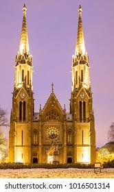 Gothic style Church of St. Elizabeth at dusk