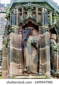 Gothic style column statue of Saint Werburgh, the patron of Chester. At Chester Cathedral in the city of Chester, Cheshire, England
