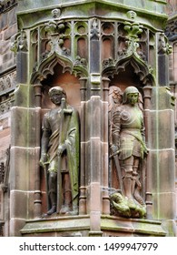 Gothic style column statues of Saint Alban the first British martyr and Saint Michael the biblical archangel who overthrew Satan. At Chester Cathedral in the city of Chester, Cheshire, England