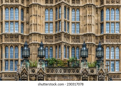 Gothic style facade of the Houses of Parliament, London, UK