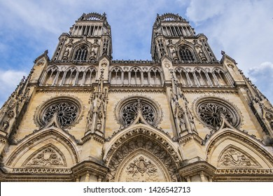 Gothic style Roman Catholic Cathedral of Sainte-Croix dominates city centre of Orleans. Construction of Sainte-Croix was started in 1287 and officially inaugurated on May 8, 1829. Orleans, France.