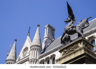 The gothic Temple Bar dragon sculpture located on Fleet Street - the dragon symbolises the boundary on the City of London.