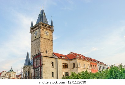 Gothic tower of the old city hall in Prague