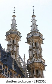 Gothic towers of the city hall in Leuven