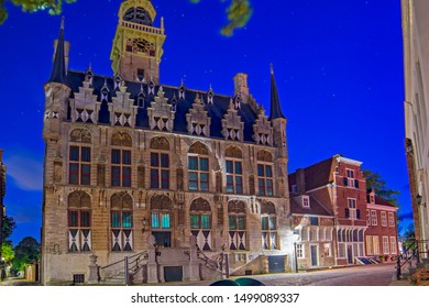 Gothic town hall of Veere town in Netherlands, in the region of Walcheren in the province of Zeeland.at dusk