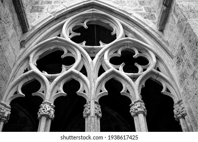 Gothic tracery window in black and white
