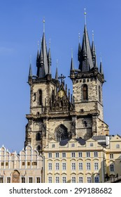 Gothic Tyn Cathedral (Church of Our Lady Before Tyn) dominates one side of Old Town Square in Prague, Czech Republic. Tyn Church (Tynsky Chram) was founded in 1385.