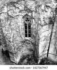 Gothic window, black and white photography