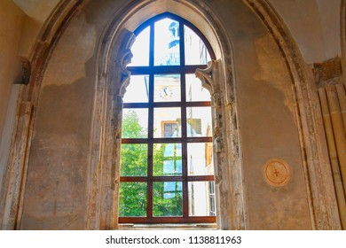 Gothic window in Buchlov castle. Region South Moravia, Czech Republic.