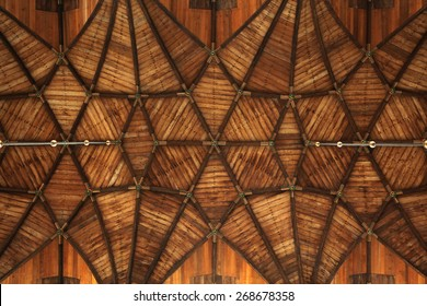 Gothic wooden vaulted ceiling in the Grote Kerk (Great Church) on the Grote Markt in Haarlem, North Holland, Netherlands.