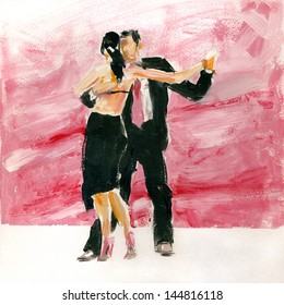 Gouache tango. Couple dancing tango. Gouache on paper.
