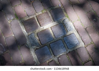 Gouda, Amsterdam: Jun 2018 - Pavement memorial markers to Netherlands holocaust victims