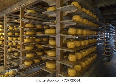 Gouda cheese store in the market town of Gouda in the Netherlands. Gouda was originally only made in Gouda, now its a general term for a variety of similar cheeses.