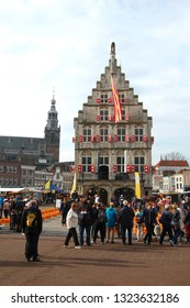 Gouda, Netherlands - 14 April 2016: Cheese market in Gouda, Netherlands. Traditional cheese market in Gouda. Every Thursday morning there is a typical cheese market at Gouda.