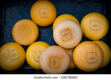 Gouda, Netherlands - April 2015: Gouda cheese for sale in the market at Gouda, Netherlands