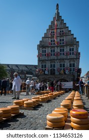 Gouda, Netherlands, June 2018: Gouda City Hall during the weekly cheese market