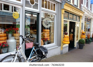 Gouda, Netherlands, June 6. 2016, Cheese shop in Gouda