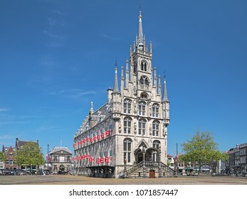 GOUDA, NETHERLANDS - MAY 24, 2015: Town Hall on the Markt square. This is the one of the oldest gothic town halls in the country, it was built in 1448-1459.