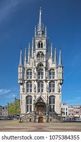 GOUDA, NETHERLANDS - MAY 24, 2015: Town Hall at the Markt square. The Town Hall was built in 1448-1459. This is the one of the oldest gothic town halls in the country.