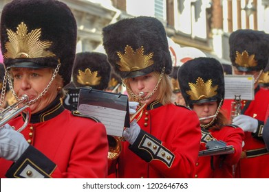 Gouda, The Netherlands - November 18, 2006: a drum band playing music during the typical Dutch children's party called Sinterklaas.