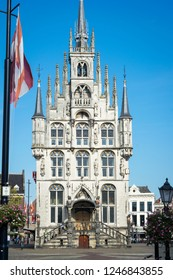 Gouda, The Netherlands - October 15th 2018. The old city hall of Gouda. The Gothic style building dates from 1459.