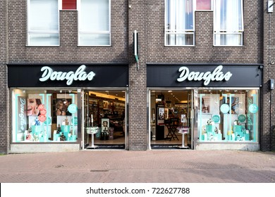 GOUDA, NETHERLANDS - September 22, 2017: Douglas branch in the city center. Douglas is a German perfume and cosmetics retailer and has more than 1,700 stores and franchised outlets across Europe.
