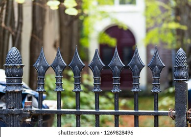 Gouda, South-Holland/The Netherlands - October 27 2018: Old house in Gouda city center shot through front gate using shallow depth of field