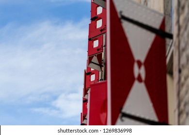 Gouda, South-Holland/The Netherlands - October 27 2018: Window shutter of the ancient Gouda town hall shot from the side using a shallow depth of field